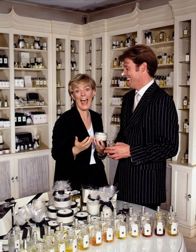 Jo Malone with husband Gary at opening of first shop in London