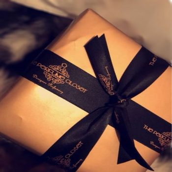 gold and black gift wrap